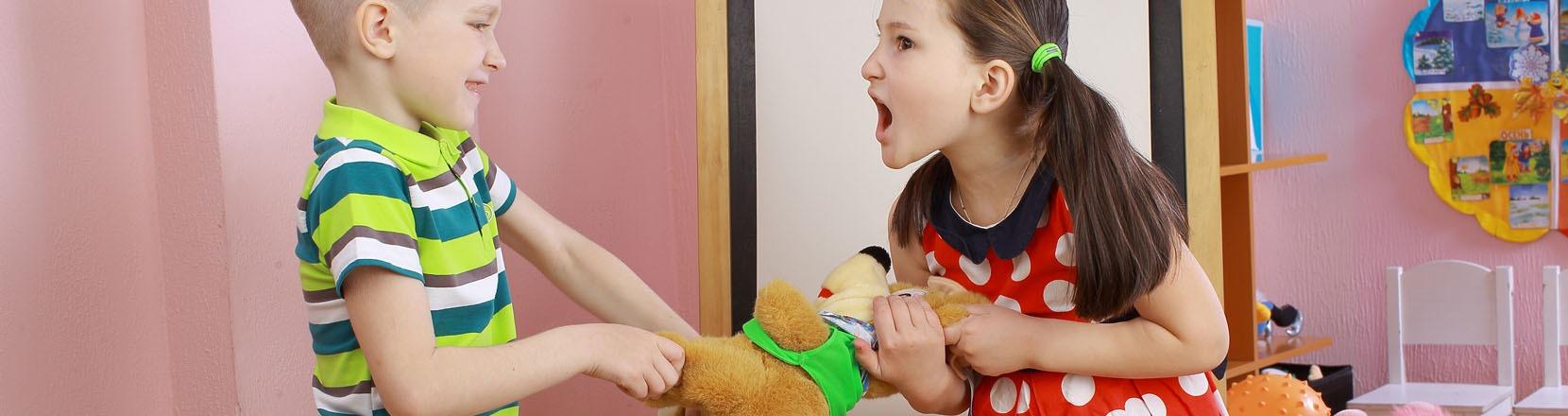 Litigano sempre, quando i figli sono i tuoi, due bambini litigano contendendosi un gioco