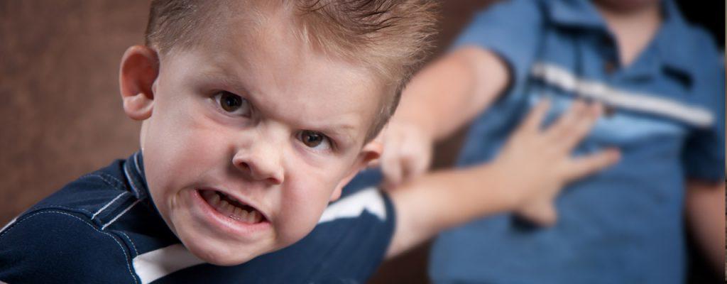 Mio figlio morde e picchia, bambino con espressione aggressiva che spinge via il fratello