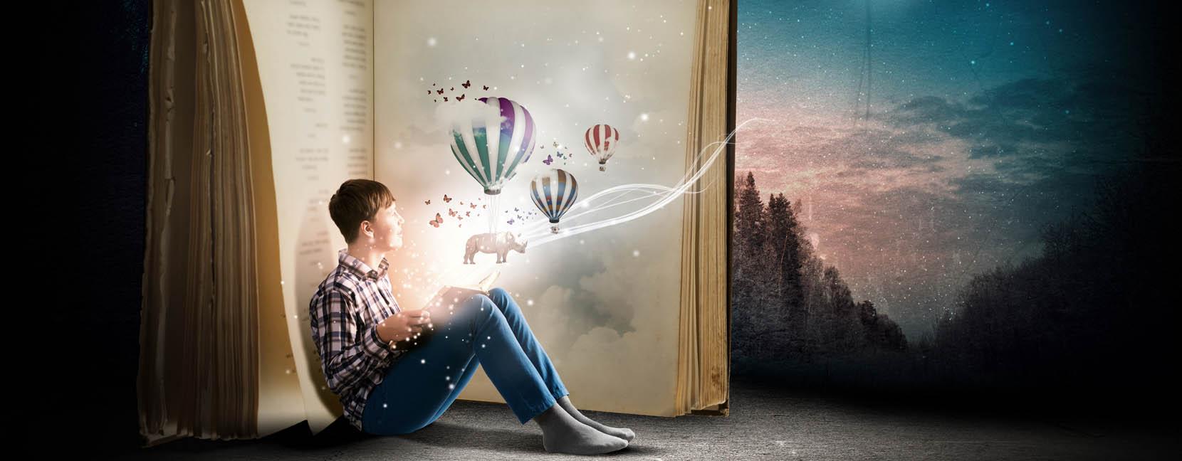 Ragazzo legge un libro e immagina cose fantastiche, è sensibile, preferisce stare da solo